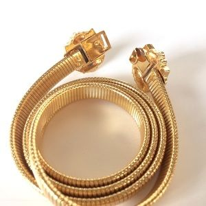 Vintage Accessories - Vintage • Double Lion Head Gold Tone Stretch Belt